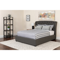 Flash Furniture | Barletta Tufted Upholstered Queen Size Platform Bed in Dark Gray Fabric