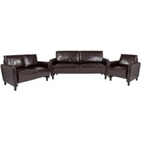 Flash Furniture | Candler Park 3 Piece Upholstered Set in Brown Leather