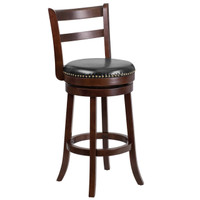 Flash Furniture | 30'' High Cappuccino Wood Barstool with Single Slat Ladder Back and Black Leather Swivel Seat
