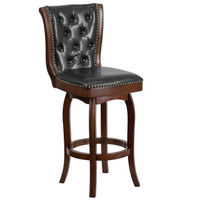 Flash Furniture | 30'' High Cappuccino Wood Barstool with Button Tufted Back and Black Leather Swivel Seat