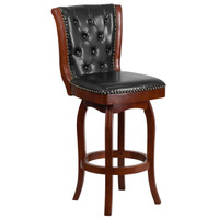 Flash Furniture | 30'' High Cherry Wood Barstool with Button Tufted Back and Black Leather Swivel Seat
