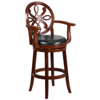 Flash Furniture | 30'' High Cherry Wood Barstool with Arms, Carved Back and Black Leather Swivel Seat