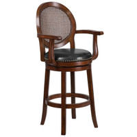 Flash Furniture | 30'' High Expresso Wood Barstool with Arms, Woven Rattan Back and Black Leather Swivel Seat