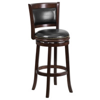 Flash Furniture | 29'' High Cappuccino Wood Barstool with Panel Back and Black Leather Swivel Seat