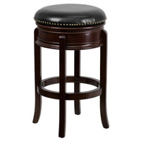 Flash Furniture | 29'' High Backless Cappuccino Wood Barstool with Carved Apron and Black Leather Swivel Seat