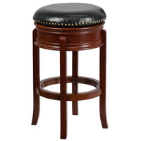 Flash Furniture | 29'' High Backless Light Cherry Wood Barstool with Carved Apron and Black Leather Swivel Seat