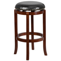 Flash Furniture | 29'' High Backless Light Cherry Wood Barstool with Black Leather Swivel Seat