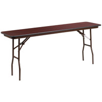 Flash Furniture | 18'' x 72'' Rectangular High Pressure Mahogany Laminate Folding Training Table