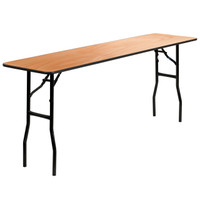 Flash Furniture | 18'' x 72'' Rectangular Wood Folding Training / Seminar Table with Smooth Clear Coated Finished Top
