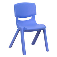 Flash Furniture | Blue Plastic Stackable School Chair with 12'' Seat Height