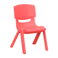 Flash Furniture | Red Plastic Stackable School Chair with 10.5'' Seat Height