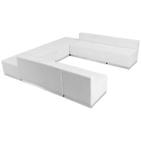 Flash Furniture | HERCULES Alon Series Melrose White Leather Reception Configuration, 8 Pieces