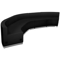 Flash Furniture | HERCULES Alon Series Black Leather Reception Configuration, 5 Pieces