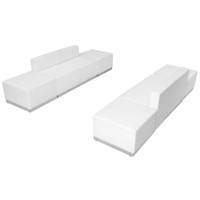 Flash Furniture | HERCULES Alon Series Melrose White Leather Reception Configuration, 6 Pieces