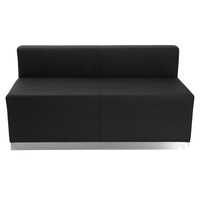 Flash Furniture | HERCULES Alon Series Black Leather Loveseat with Brushed Stainless Steel Base