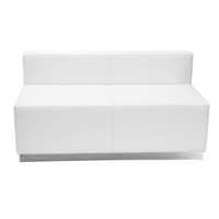 Flash Furniture | HERCULES Alon Series Melrose White Leather Loveseat with Brushed Stainless Steel Base