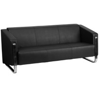 Flash Furniture | HERCULES Gallant Series Contemporary Black Leather Sofa with Stainless Steel Frame
