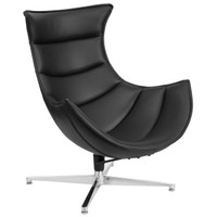 Flash Furniture | Black Leather Swivel Cocoon Chair