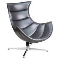 Flash Furniture | Gray Leather Swivel Cocoon Chair