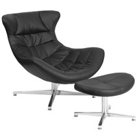 Flash Furniture | Black Leather Cocoon Chair with Ottoman