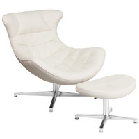 Flash Furniture | Melrose White Leather Cocoon Chair with Ottoman