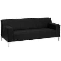 Flash Furniture | HERCULES Definity Series Contemporary Black Leather Sofa with Stainless Steel Frame