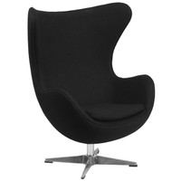 Flash Furniture | Black Wool Fabric Egg Chair with Tilt-Lock Mechanism