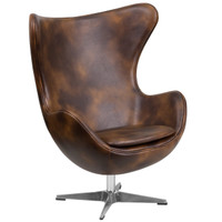 Flash Furniture | Bomber Jacket Leather Egg Chair with Tilt-Lock Mechanism