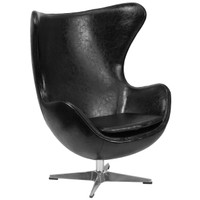 Flash Furniture | Black Leather Egg Chair with Tilt-Lock Mechanism