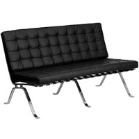 Flash Furniture | HERCULES Flash Series Black Leather Loveseat with Curved Legs