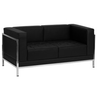 Flash Furniture | HERCULES Imagination Series Contemporary Black Leather Loveseat with Encasing Frame