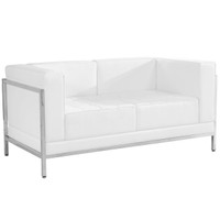 Flash Furniture | HERCULES Imagination Series Contemporary Melrose White Leather Loveseat with Encasing Frame