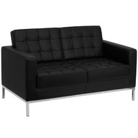 Flash Furniture | HERCULES Lacey Series Contemporary Black Leather Loveseat with Stainless Steel Frame