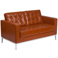 Flash Furniture | HERCULES Lacey Series Contemporary Cognac Leather Loveseat with Stainless Steel Frame
