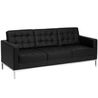 Flash Furniture | HERCULES Lacey Series Contemporary Black Leather Sofa with Stainless Steel Frame