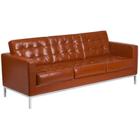 Flash Furniture | HERCULES Lacey Series Contemporary Cognac Leather Sofa with Stainless Steel Frame