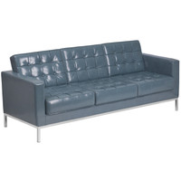 Flash Furniture | HERCULES Lacey Series Contemporary Gray Leather Sofa with Stainless Steel Frame