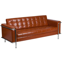 Flash Furniture | HERCULES Lesley Series Contemporary Cognac Leather Sofa with Encasing Frame