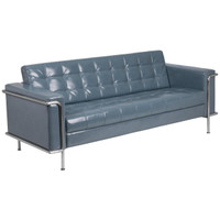 Flash Furniture | HERCULES Lesley Series Contemporary Gray Leather Sofa with Encasing Frame