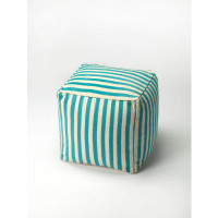 Butler Specialty Furniture | Sanibel Blue Stripe Pouffe | Bs3726140
