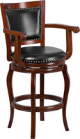 Flash Furniture | 30'' High Cherry Wood Barstool with Black Leather Swivel Seat