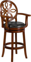 Flash Furniture | 30'' High Brandy Wood Barstool with Arms and Black Leather Swivel Seat