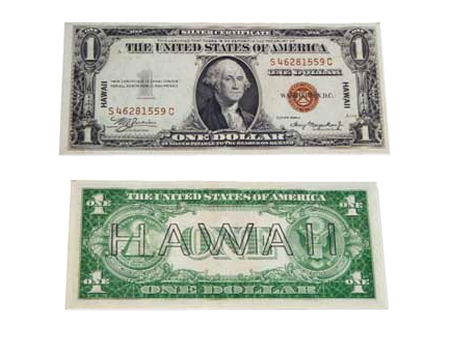 hawaii overprint 1 dollar bill