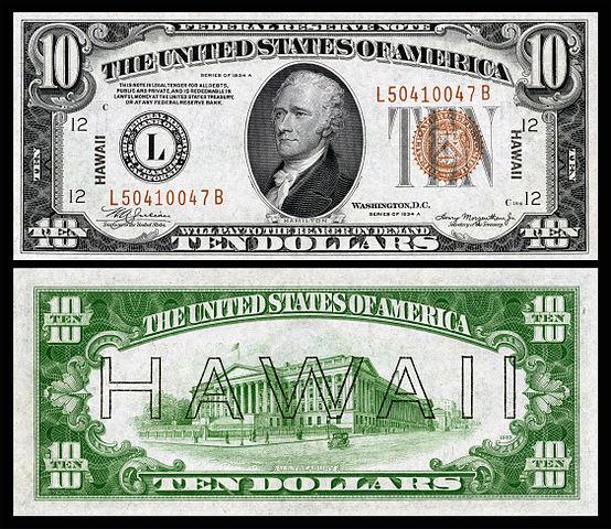 hawaii 10 dollar overprint
