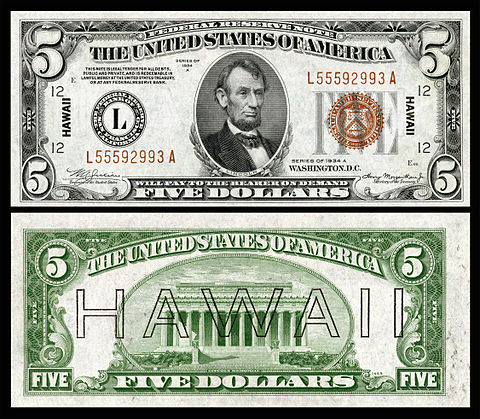 hawaii overprint 5 dollar bill