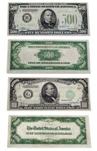 US Paper Currency - $500 Bill and $1,000 Bill