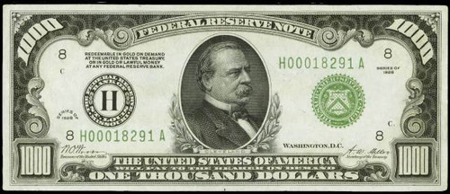 U.S. $1000.00 Bill collector note
