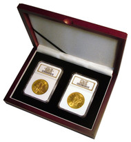 Two Coin Wood Display Box NGC or PCGS graded coin in coin collecting supplies
