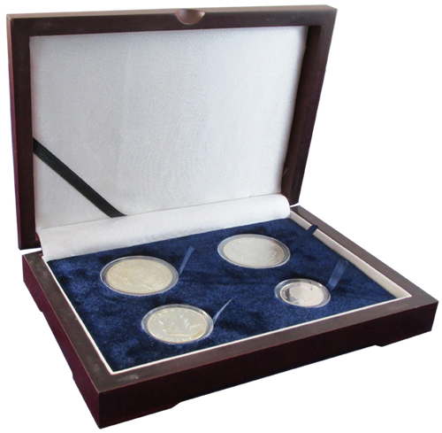 Four Coin Wood Box for Silver Dollars in coin supplies