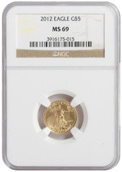 2012 ($5) Five Dollar American Eagle gold in certified MS69 condition